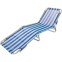 Aktive 53957 Tumbona plegable multiposición aluminio Beach, 188 x 58 x 24 cm Azul