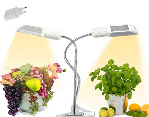 Grow Clip Lights for Indoor Plants,Full Spectrum LED Grow Light,2 Head Timing,5 Dimmable Levels,3 6 9 12H Timer,4 Switch Modes, for Low Light House Plants (2 Lights)