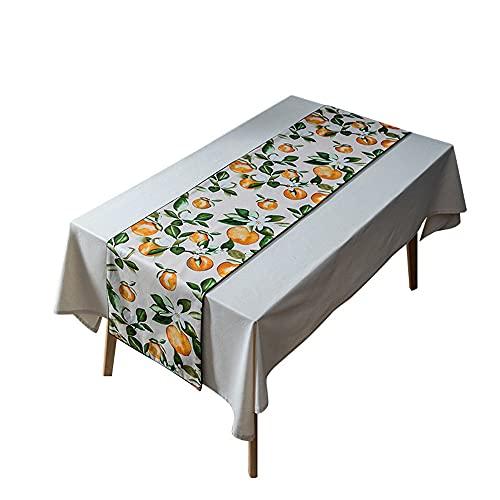 LOKOER Mantel Doble de algodón Cuadrado Grueso jardín Estilo Fresco Mantel Estampado Naranja para Mesa de Comedor Escritorio de café