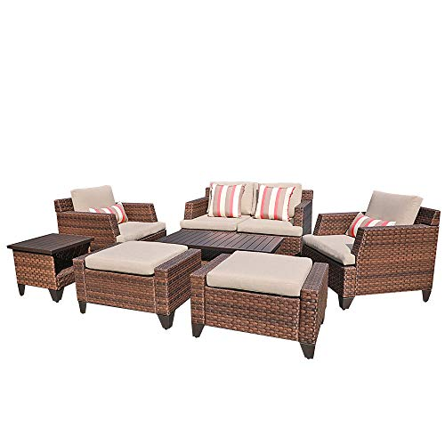 SUNSITT Outdoor Furniture Set 8-Piece Patio Lounge Chair Sofa with Ottoman & Loveseat Brown Wicker Neutral Beige Cushions, Coffee Table & Side Table w/Aluminum Top Incl. Waterproof Cover