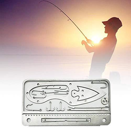 aheadad - Herramienta multifunción de supervivencia, con ganchos, tarjeta de pesca, equipo de pesca, tarjeta de crédito, multifuncional, para actividades al aire libre