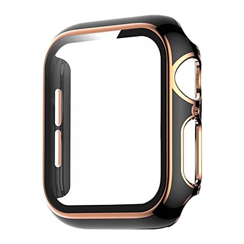 LGFCOK Protector de pantalla duro para Apple Watch Series 6 SE 5 4 3 2 Cover PC Bumper+película de vidrio 40 mm, 44 mm, 38 mm, 42 mm (color: negro oro rosa, diámetro de la esfera: 42 mm)