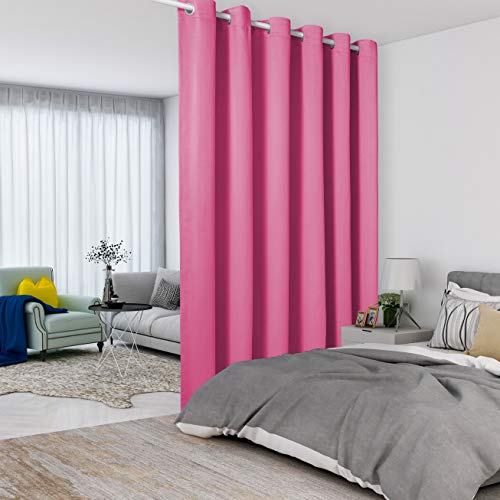 LORDTEX Baby Pink Room Divider Curtains - Total Privacy Wall Room Divider Screens Sound Proof Wide Blackout Curtain for Living Room Bedroom Patio Sliding Door, 1 Panel, 10ft Wide x 9ft Tall
