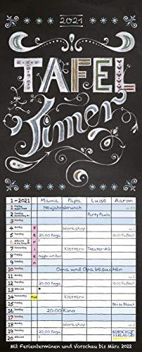 Tafel Timer 2021: Typo Art Familienkalender mit 4 breiten Spalten in Tafeloptik. Hochwertiger Familienplaner mit Ferienterminen, Vorschau bis März 2022.