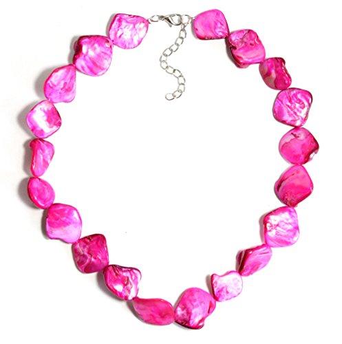 2LIVEfor Perlmutt Kette Perlen Pink Rosa Rose Grün Blau-Grau Bunt Schmuck Echt echte Perlenkette Muschel Steine Halskette Perlen Damen...