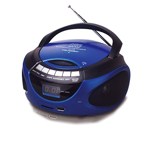 Metronic 477129 - Radio CD portátil con Bluetooth y puerto USB/SD/MMC: reproduce MP3, 2x1W, azul