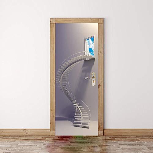Fantxzcy Pegatina 3D Para Puerta Arte De La Puerta Escalera De Caracol Creativa 77X200Cm Decoración Del Hogar Papel Tapiz Pvc Para Dormitorio Adhesivos Para Pared Póster Puerta Adhesivo