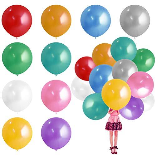 CJMM Luftballons Bunt 90cm ,36 Zoll Luftballon Helium, Latex Riesige Ballon Dekoration für Hochzeit Geburtstag Taufe Babyparty Kinder Party Festival (10 Farbe)