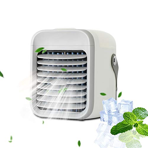 2021 Portable AC - Mini Tragbare Klimaanlage, Mobile Klimageräte, 3 Speeds Fan Cooler Humidifier mit Nachtlicht, Zimmer Klimaanlage & mobiles Klimagerät für den Innenraum (Weiß)