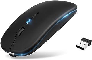 Ewin マウス ワイヤレス Bluetooth5.2 2.4G USBレシーバー マルチ 無線 まうす 静音 薄型 3DPIモード iOS Windows Mac Android対応 対応 無線マウス 充電式 (Black)