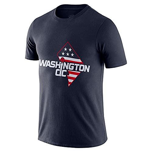 Camiseta De Deportes De Baloncesto para Hombre, NBA Washington Wizards Fanáticos De Manga Corta, Algodón Juventud Moda Sportswear Fan Camiseta Superior,Dark Blue,XXL(180~190cm)