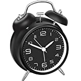 """FSMY 4"""" Loud Non Ticking Analog Twin Bell Alarm Clock with Night Light"""