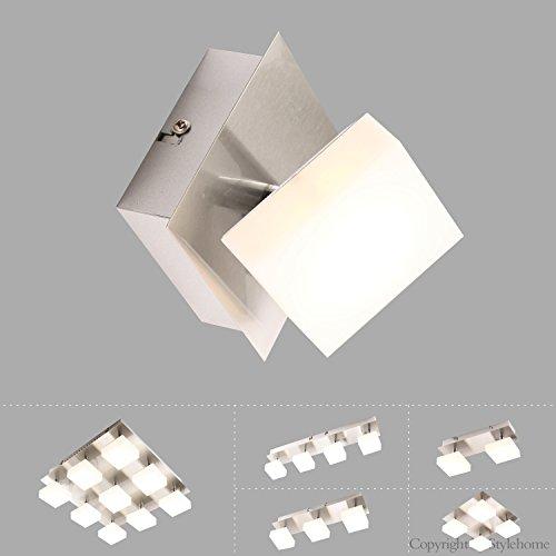 Style home 5W LED Deckenlampe Deckenleuchte LED Spot drehbaren Spots Wandlampe Warmweiss mit Tüv geprüft Trafo (quadrat 1spot 8138C-1C)