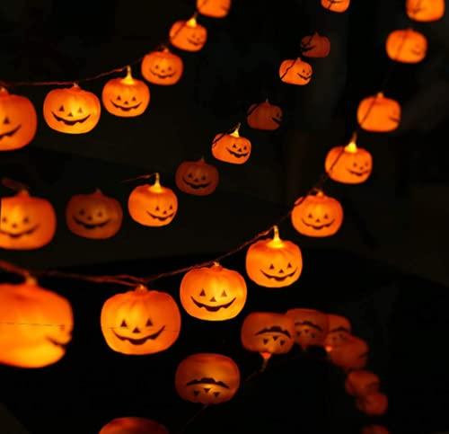 N\C 20 luces LED de Halloween cadena de calabaza linterna al aire libre decoración luces de vacaciones con 2 modos de iluminación (9.8 pies)