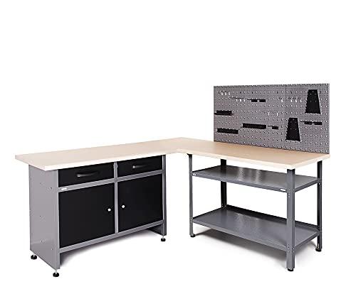 Ondis24 Werkstatt-Set Ecklösung Sparfuchs Basic Plus 180 x 180 x 85cm (H), 2x Werkbank aus Metall, melaminbeschichtete Arbeitsplatte, Problemlöser für Ecke