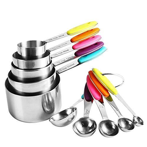 Messbecher und Löffel Edelstahl 10 set - Mopalwin 5 Measuring Cups 5 Messlöffel 2 runden Ringen, mit Silikon Griff und Meßlineal Multifunktions für Küche Kochen Backen