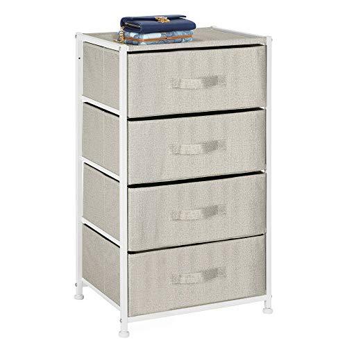 mDesign Cassettiera tessuto – Comò moderno dalla struttura in metallo con 4 cassetti in stoffa – Pratico cassettone per camera da letto, ingresso e atrio – beige/marrone