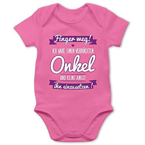 Shirtracer Sprüche Baby - Ich Habe einen verrückten Onkel lila - 6/12 Monate - Pink - mädchen Strampler Baby Onkel - BZ10 - Baby Body Kurzarm für Jungen und Mädchen