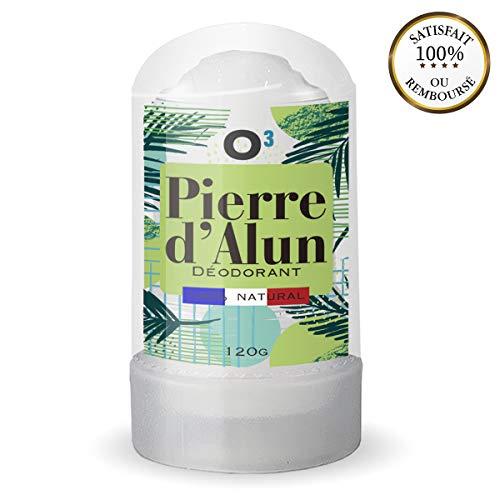 O³ Déodorant Pierre d'Alun Naturelle | Pierre d'Alun Stick 120G | 100% NATURELLE |idéal après rasage |sans parabène ni chlorhydrate d'aluminium