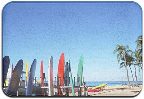 NAQIMATE - Felpudo para la playa, surf, palmeras, 50 x 80 cm, para salón, dormitorio, cocina, cuarto de baño, con impresión