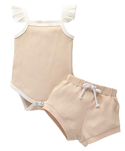 Newborn Baby Girl Clothes Outfits Infant Romper Ruffle Onsies Pants Short Cute Toddler Baby Girl Clothes Set Beige