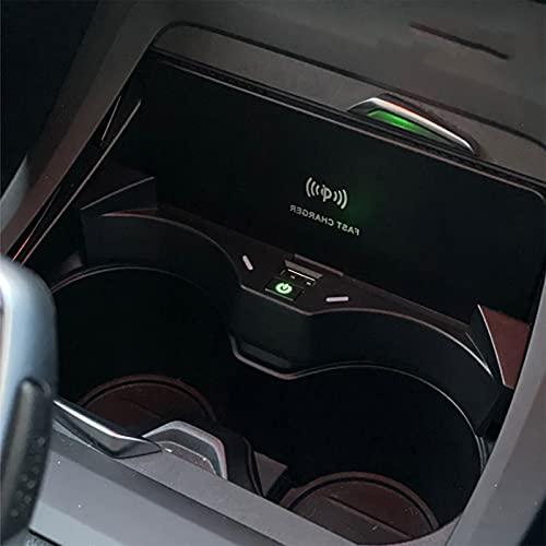HAZYJT Compatible con B-MW X2 F39 2018-2021 Qi 15w Cargador Inalámbrico Coche Qi Wireless Car Charger Placa De Carga Inalámbrica Consola Central Caja De Almacenamiento