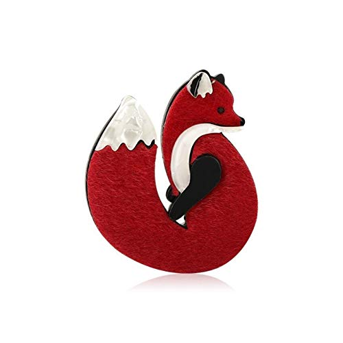 QYTSTORE Fox Animal Brooch Pin, Size: 5.3 * 6.0cm, Acrylic Jewelry, Women's And Girls' Party Accessories, Coat, Sweater, Decorative Jewelry Elegant and romantic brooch