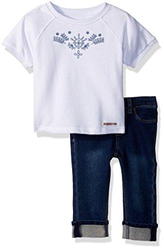 Hudson Baby-Mädchen 2PC Crop Hosen Set, Indigo Vintage Wash, 12 Monate
