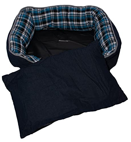 Hochwertiges Hundebett mit Einlegekissen | Pflegeleicht | 72x50 cm | Katzenbett | Hundekorb | Blau