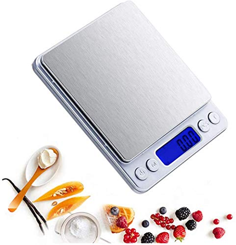 kaige LCD Digital portátil balanza de Cocina de Acero Alimentos en el hogar Escala electrónica Inoxidable 0,1 G de Alta precisión 0.01g 200g * 0.01g WKY (Size : 2kg*0.1g)