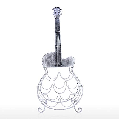 Kedelak Sculpture,7 Flaschen Gitarre Weinregal Große Gitarre Dekoration Moderne Weinregal Eisen Material Handwerk Display und Lagerung Wohnkultur KD