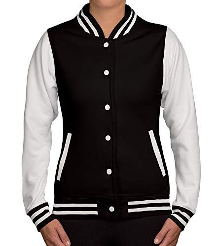 shirtdepartment Damen College Jacke zweifarbig schwarz S