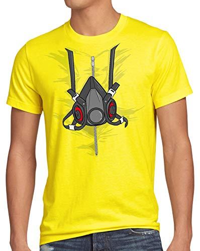 style3 Bad Meth Maschera Antigas T-Shirt da Uomo Costume Crystal Breaking TV Serial, Dimensione:L