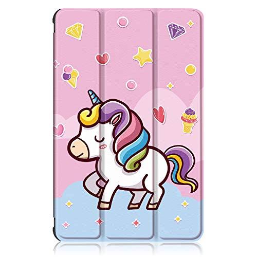 Xuanbeier Funda Compatible con Samsung Galaxy Tab A 10.1 SM-T580 T585 (Tab A6) con Soporte Función Auto-Sueño/Estela,Unicornio
