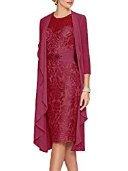 Maroon Lace  Dress With Rhinestone Belt & Chiffon Jacket