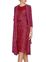 Maroon Lace Dress With Rhinestone Belt & Chiffon Jacket