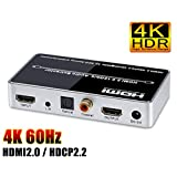ELEVIEW 4K 60Hz HDR対応 HDMI 音声分離器 (音声出力:同軸・光デジタル・3.5mmステレオミニ)|HDMI2.0・HDCP2.2 デジタルオーディ分離器 PS4pro・Fire TVなどに適用 電源アダプタ付き EHD-623N