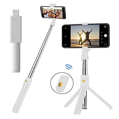 EasyULT Bastone Selfie Treppiede, 3 in 1 Estensibile Portatile Selfie Stick, Rotazione con Telecomando Wireless Rimovibile Bluetooth per iPhone/Huawei e Altri Android e iOS 4.7-6 Pollici-Bianco
