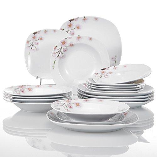 VEWEET Annie Juegos de Vajillas 18 Piezas de Porcelana con 6 Platos, 6 Platos Hondos y 6 Platos de Postre para 6 Personas