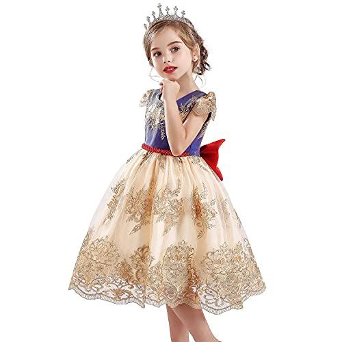 TTYAOVO Vestidos de Noche de Encaje con Bordado de Flores Vintage para Niñas Talla(130) 5-6 años 702 Amarillo