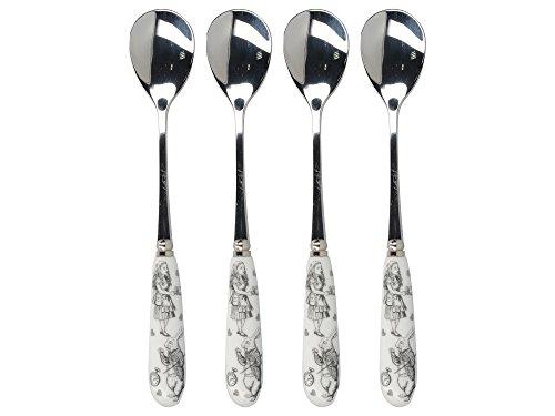 Creative Tops V & A Alicia en el país de Las Maravillas cucharillas con Mango de Porcelana de decoración, Acero Inoxidable, Color Blanco, 15x 1,5x 1,5cm