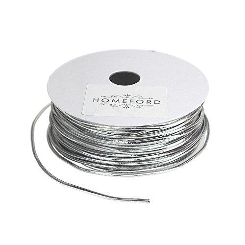 Homeford Stretch Cord Ribbon, 1/16-Inch, 25-Feet (Silver)