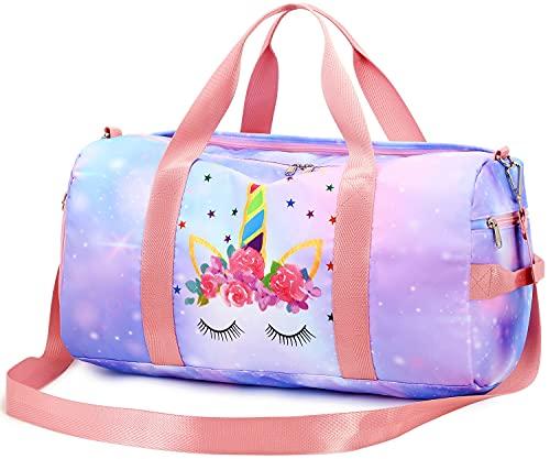 CAMTOP Kids Overnight Duffel Bag Girls Carry-On Size Tote Women Weekender Travel Gym Sport Bag(Unicorn Light Blue Pink)