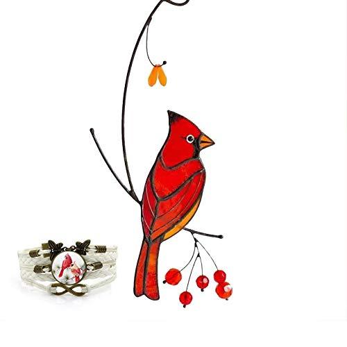 UYTTlhk Cardinal Bird, Creative Pewter Designs Cardinal Bird Christmas Tree Ornament, with Cardinal Bird Bracelet, Used To Commemorate Loved Ones (Color : 1)