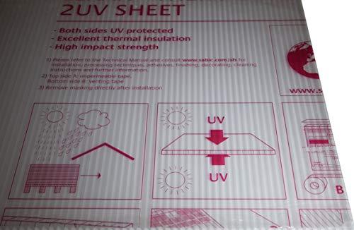 Placa de policarbonato Lexan Thermoclear, protección UV por ambos lados, 1500 x 700 x 4,5 mm