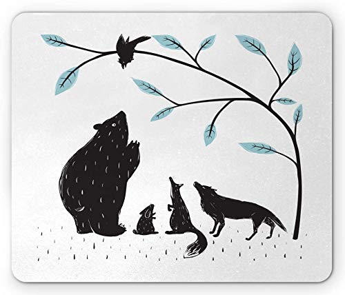 Alfombrilla de ratón con estampado animal, diseño de bosque, fauna oso, cuervo, zorro lobo, conejo, rectangular, antideslizante, goma gris carbón – 9.5 x 7.9 pulgadas