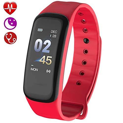 Fitness Tracker, Activity Tracker Met Hartslagmeter, Slim Horloge Met Calorieteller Slaapmonitor Stappenteller, Slimme Polsband Voor Dames Heren,Red