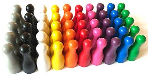 Spieltz 52658: 50 Riesen Spielfiguren für XXL Brettspiele. Halmakegel groß aus Holz, 25/60 mm, Flaschenkegel in 10 Farben. Extra große Spielfiguren (Großpackung: 50 Stück, farblich gemischt)