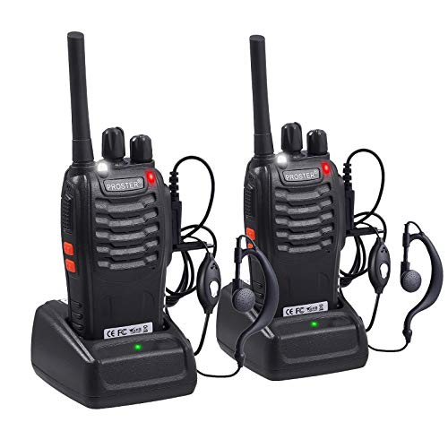 Proster Rechargeable Walkie Talkies 1 Pair, 16 Channel Long Range Two Way Radios with USB Charger Earpiece Mic, Handheld Walky Talky Transceiver 2 Pack
