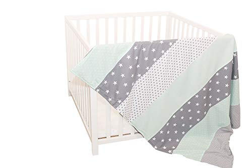 Colcha para bebé de ULLENBOOM ® con menta gris (manta de arrullo para bebé de 100 x 140 cm, ideal colcha para el cochecito; apta alfombra de juegos)
